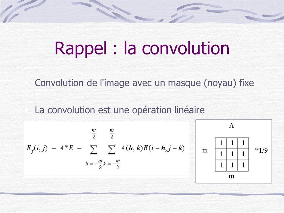 Rappel : la convolution Convolution de l'image avec un masque (noyau) fixe La convolution est une opération linéaire