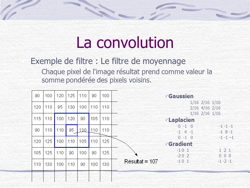 La convolution Exemple de filtre : Le filtre de moyennage –Chaque pixel de l'image résultat prend comme valeur la somme pondérée des pixels voisins. G