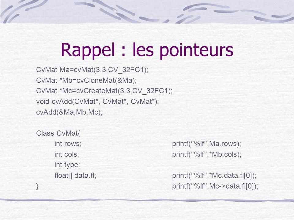Rappel : les pointeurs CvMat Ma=cvMat(3,3,CV_32FC1); CvMat *Mb=cvCloneMat(&Ma); CvMat *Mc=cvCreateMat(3,3,CV_32FC1); void cvAdd(CvMat*, CvMat*, CvMat*