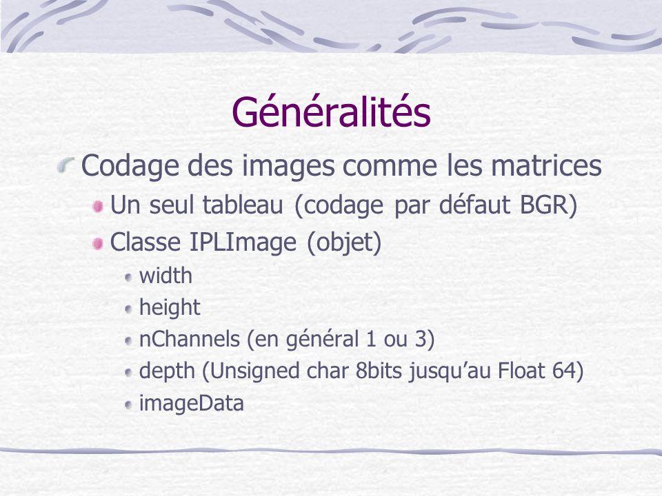 Généralités Codage des images comme les matrices Un seul tableau (codage par défaut BGR) Classe IPLImage (objet) width height nChannels (en général 1
