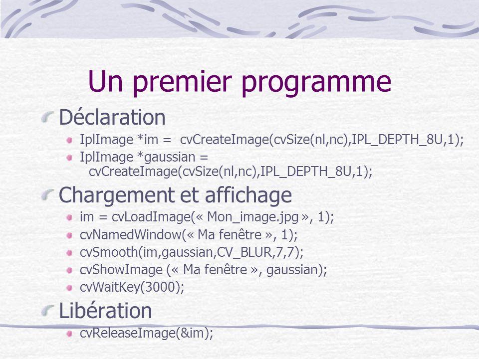Un premier programme Déclaration IplImage *im = cvCreateImage(cvSize(nl,nc),IPL_DEPTH_8U,1); IplImage *gaussian = cvCreateImage(cvSize(nl,nc),IPL_DEPT