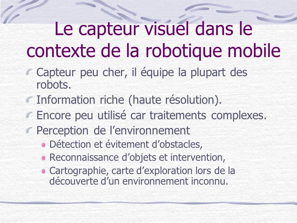 Le capteur visuel dans le contexte de la robotique mobile Capteur peu cher, il équipe la plupart des robots. Information riche (haute résolution). Enc