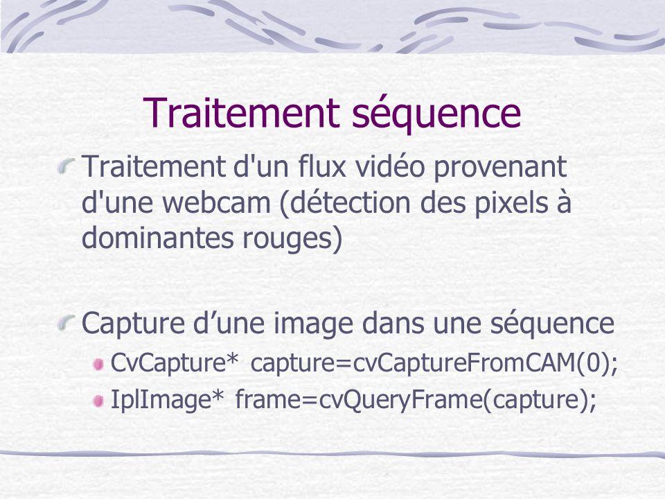 Traitement séquence Traitement d'un flux vidéo provenant d'une webcam (détection des pixels à dominantes rouges) Capture dune image dans une séquence