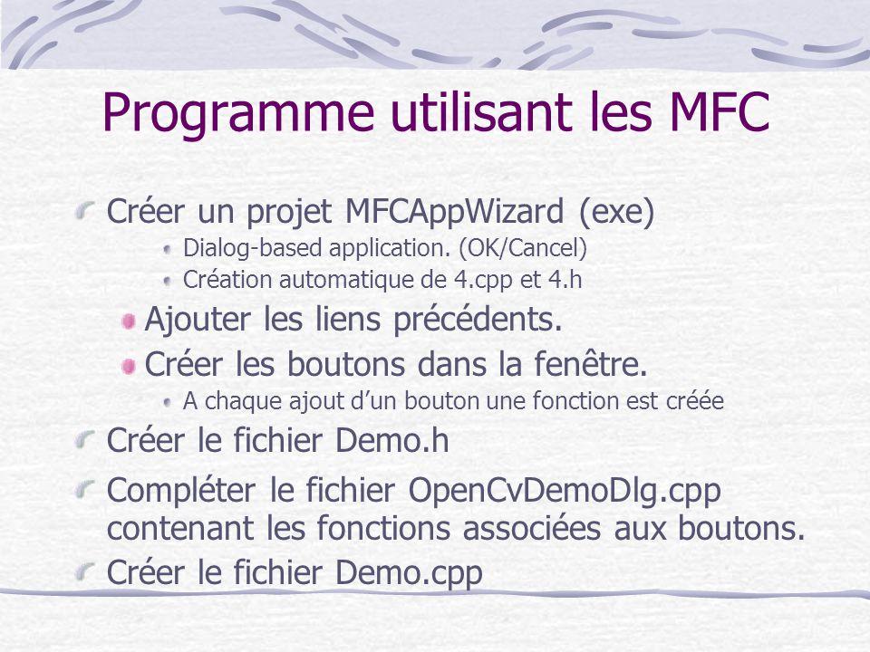 Programme utilisant les MFC Créer un projet MFCAppWizard (exe) Dialog-based application. (OK/Cancel) Création automatique de 4.cpp et 4.h Ajouter les