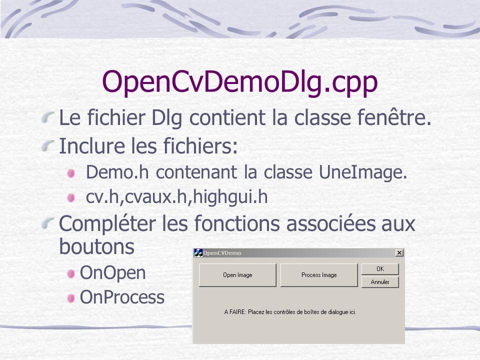 OpenCvDemoDlg.cpp Le fichier Dlg contient la classe fenêtre. Inclure les fichiers: Demo.h contenant la classe UneImage. cv.h,cvaux.h,highgui.h Complét