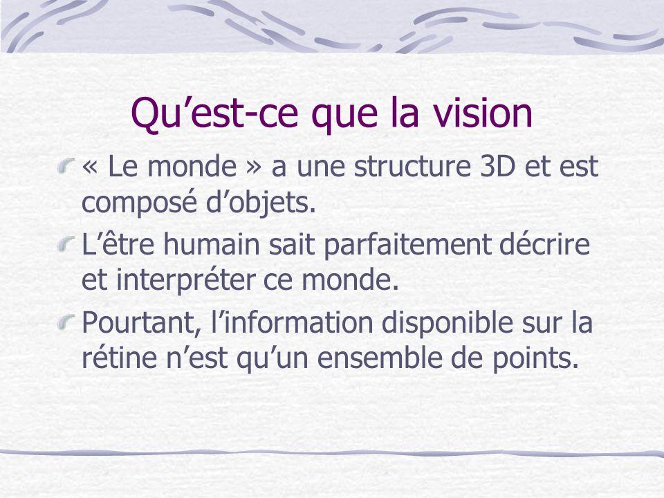 Quest-ce que la vision « Le monde » a une structure 3D et est composé dobjets. Lêtre humain sait parfaitement décrire et interpréter ce monde. Pourtan