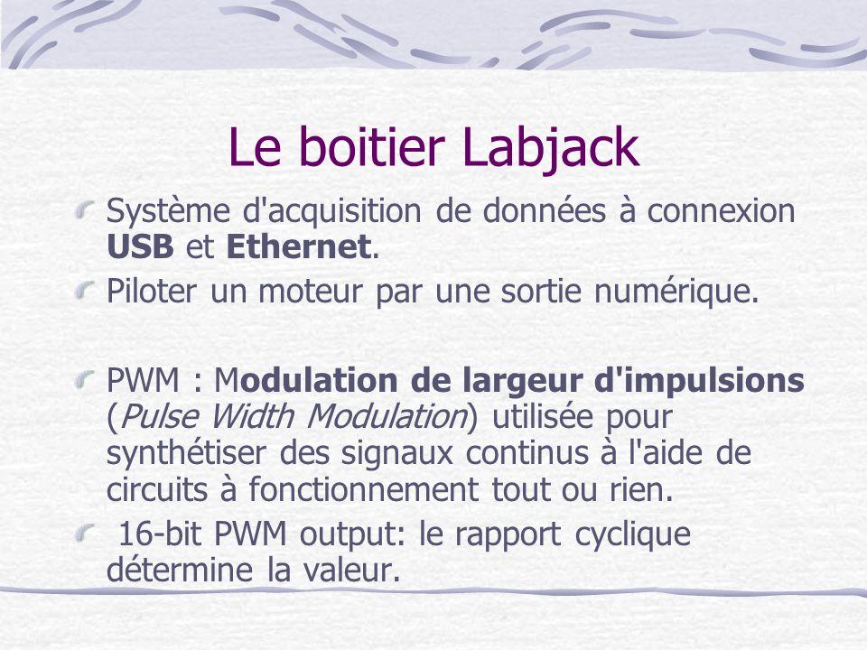 Le boitier Labjack Système d'acquisition de données à connexion USB et Ethernet. Piloter un moteur par une sortie numérique. PWM : Modulation de large