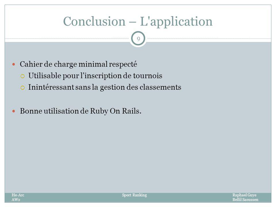 Conclusion – L application 9 Cahier de charge minimal respecté Utilisable pour l inscription de tournois Inintéressant sans la gestion des classements Bonne utilisation de Ruby On Rails.