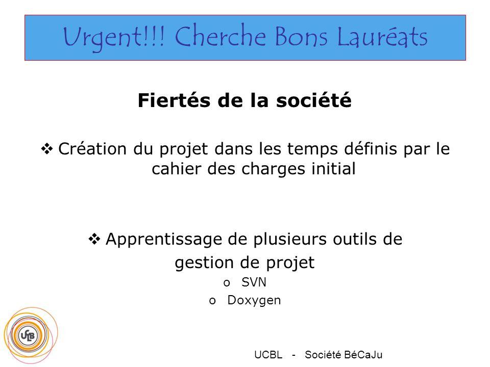 UCBL - Société BéCaJu Urgent!!! Cherche Bons Lauréats Fiertés de la société Création du projet dans les temps définis par le cahier des charges initia