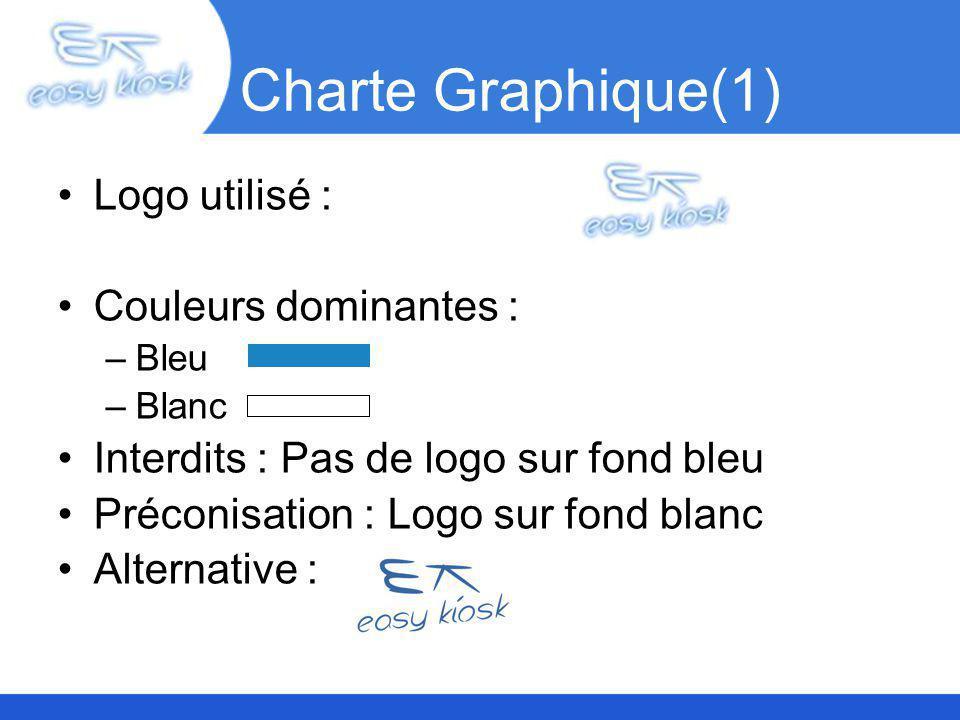 Charte Graphique(1) Logo utilisé : Couleurs dominantes : –Bleu –Blanc Interdits : Pas de logo sur fond bleu Préconisation : Logo sur fond blanc Alternative :