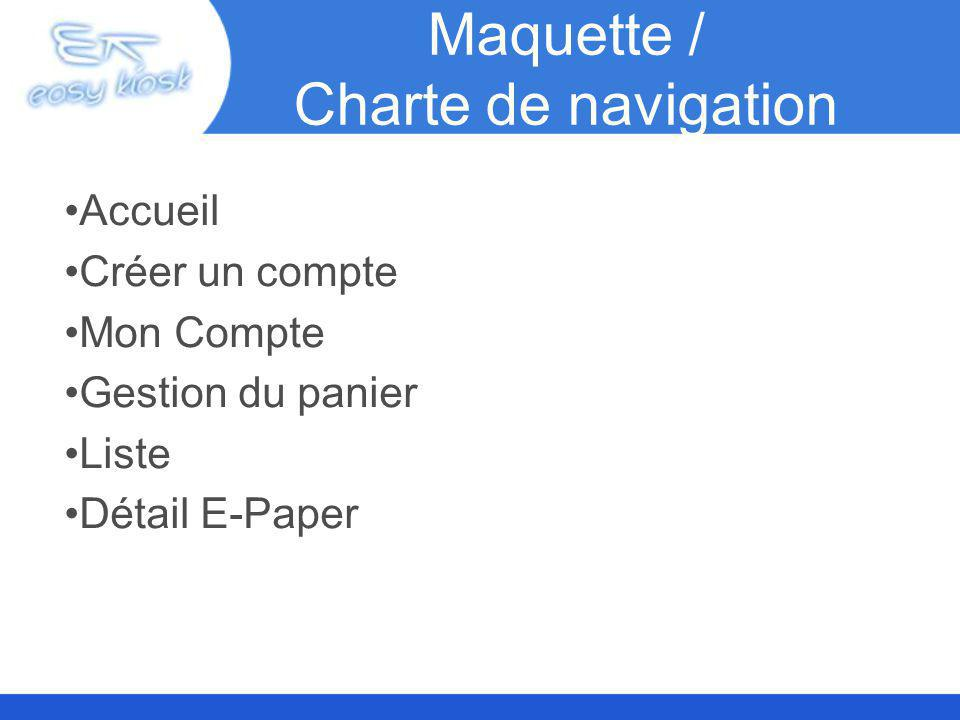 Maquette / Charte de navigation Accueil Créer un compte Mon Compte Gestion du panier Liste Détail E-Paper