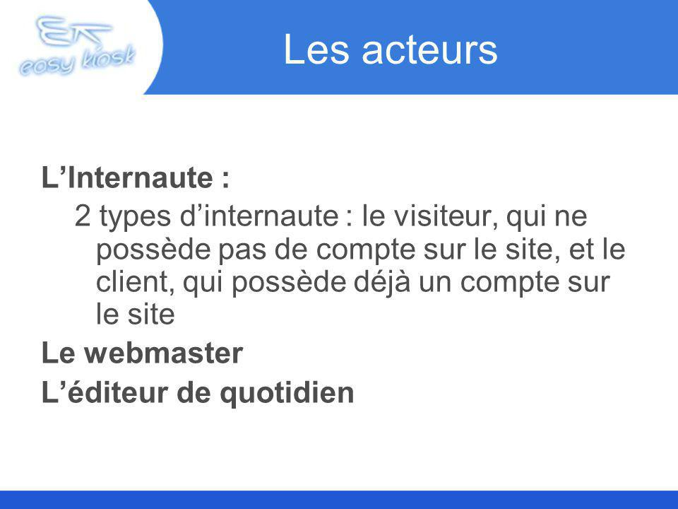 Les acteurs LInternaute : 2 types dinternaute : le visiteur, qui ne possède pas de compte sur le site, et le client, qui possède déjà un compte sur le site Le webmaster Léditeur de quotidien