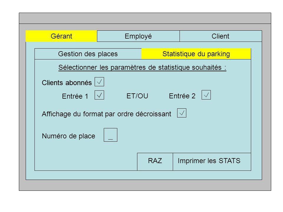 GérantEmployéClient Gestion des placesStatistique du parking Sélectionner les paramètres de statistique souhaités : Clients abonnés Entrée 1 ET/OUEntrée 2 Affichage du format par ordre décroissant Numéro de place Imprimer les STATSRAZ