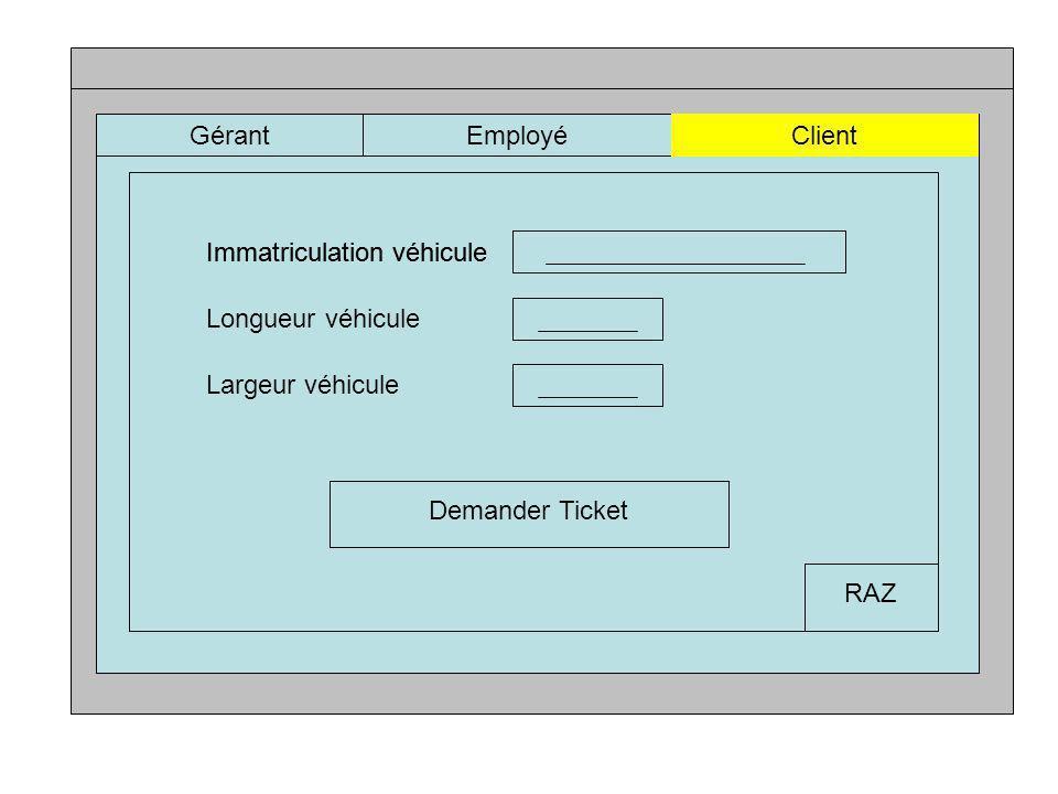 GérantEmployéClient Immatriculation véhicule Longueur véhicule Largeur véhicule Immatriculation véhicule Demander Ticket RAZ