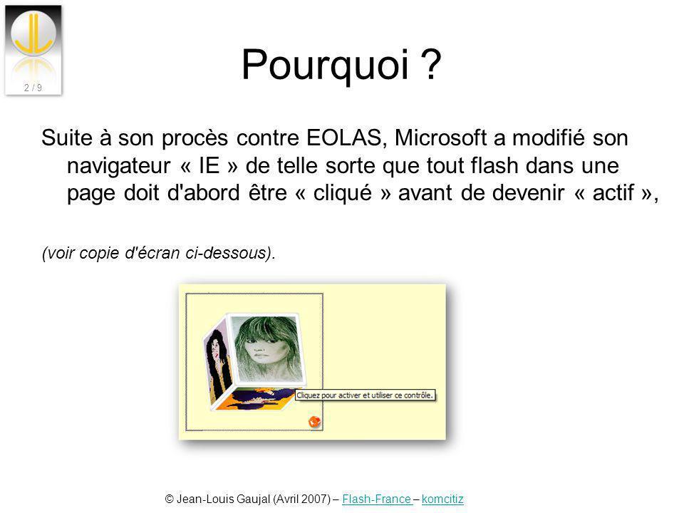© Jean-Louis Gaujal (Avril 2007) – Flash-France – komcitizFlash-France komcitiz 2 / 9 Pourquoi ? Suite à son procès contre EOLAS, Microsoft a modifié