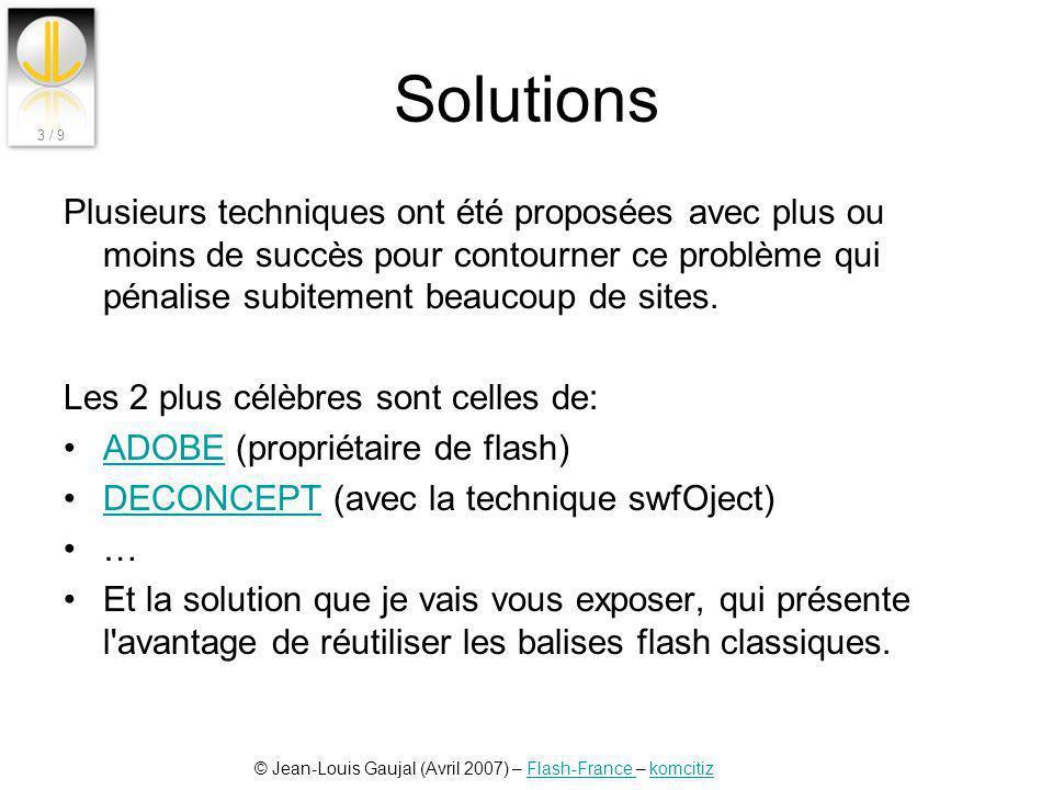 © Jean-Louis Gaujal (Avril 2007) – Flash-France – komcitizFlash-France komcitiz 3 / 9 Solutions Plusieurs techniques ont été proposées avec plus ou mo