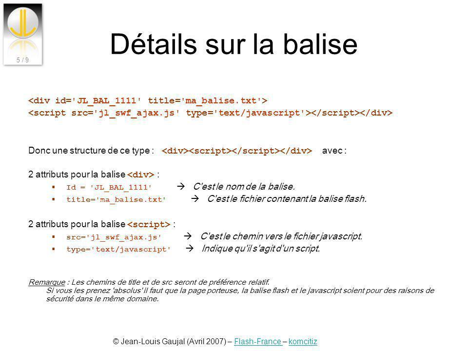 © Jean-Louis Gaujal (Avril 2007) – Flash-France – komcitizFlash-France komcitiz 5 / 9 Détails sur la balise Donc une structure de ce type : avec : 2 a