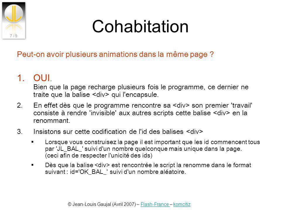 © Jean-Louis Gaujal (Avril 2007) – Flash-France – komcitizFlash-France komcitiz 7 / 9 Cohabitation Peut-on avoir plusieurs animations dans la même pag