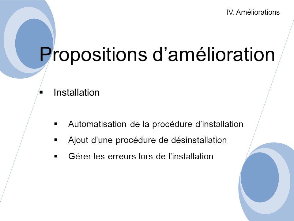 Propositions damélioration Installation Automatisation de la procédure dinstallation Ajout dune procédure de désinstallation Gérer les erreurs lors de