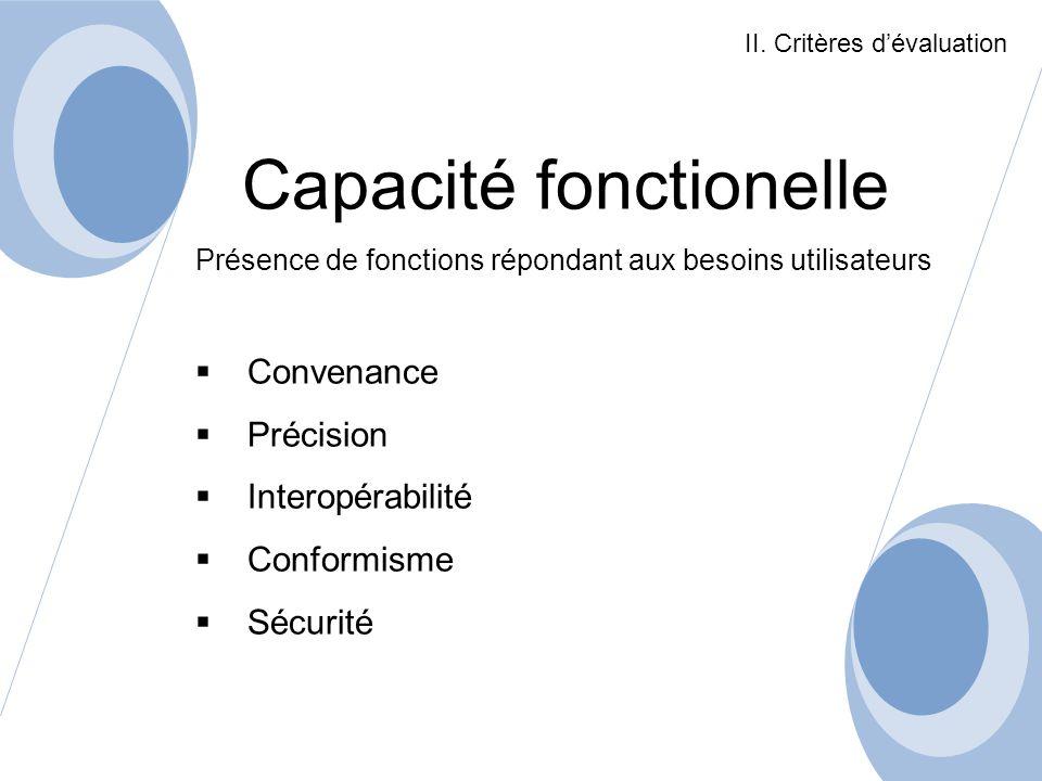 Capacité fonctionelle Présence de fonctions répondant aux besoins utilisateurs Convenance Précision Interopérabilité Conformisme Sécurité II. Critères