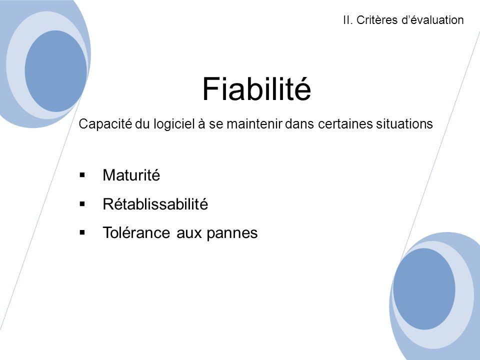 Fiabilité Capacité du logiciel à se maintenir dans certaines situations Maturité Rétablissabilité Tolérance aux pannes II. Critères dévaluation