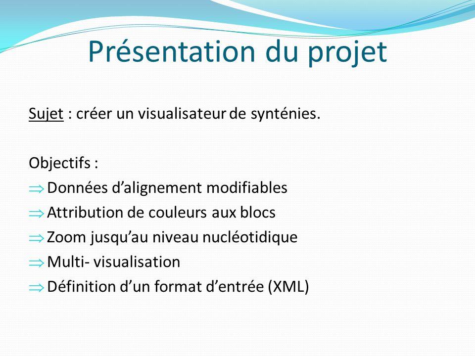 Présentation du projet Sujet : créer un visualisateur de synténies. Objectifs : Données dalignement modifiables Attribution de couleurs aux blocs Zoom