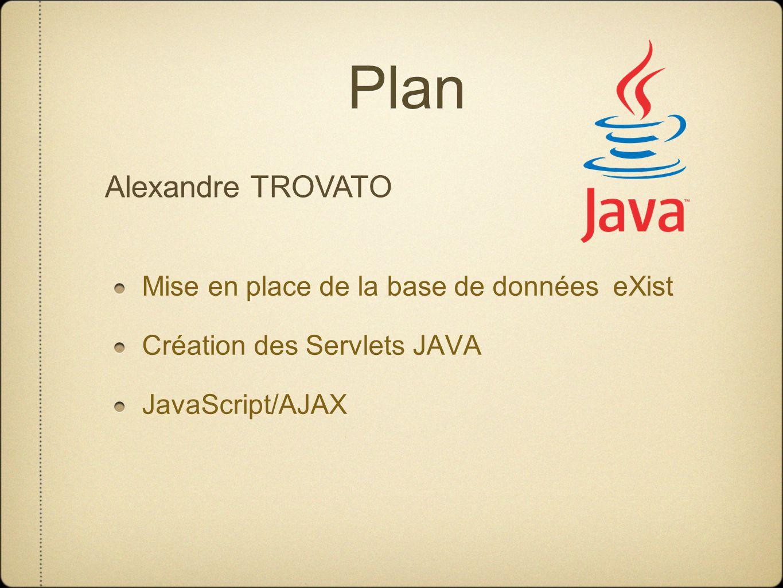 Plan Mise en place de la base de données eXist Création des Servlets JAVA JavaScript/AJAX Alexandre TROVATO