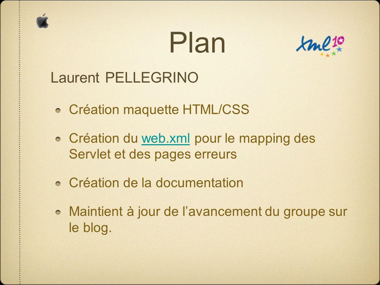 Plan Création maquette HTML/CSS Création du web.xml pour le mapping des Servlet et des pages erreursweb.xml Création de la documentation Maintient à jour de lavancement du groupe sur le blog.