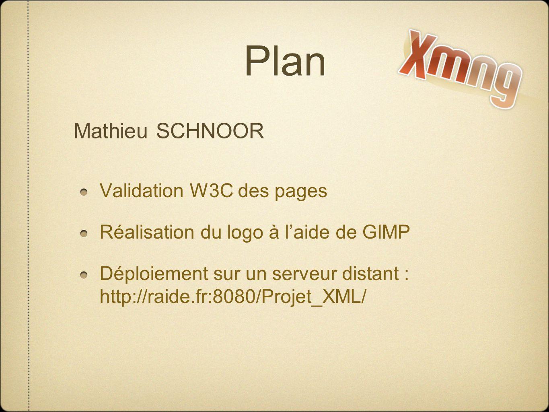 Plan Validation W3C des pages Réalisation du logo à laide de GIMP Déploiement sur un serveur distant : http://raide.fr:8080/Projet_XML/ Mathieu SCHNOOR