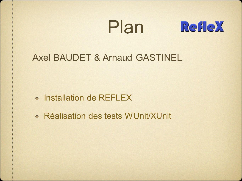 Plan Installation de REFLEX Réalisation des tests WUnit/XUnit Axel BAUDET & Arnaud GASTINEL