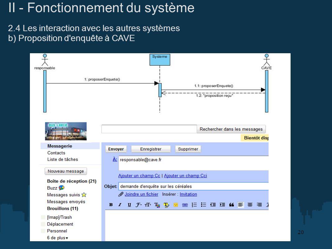 II - Fonctionnement du système 2.4 Les interaction avec les autres systèmes b) Proposition d'enquête à CAVE 20