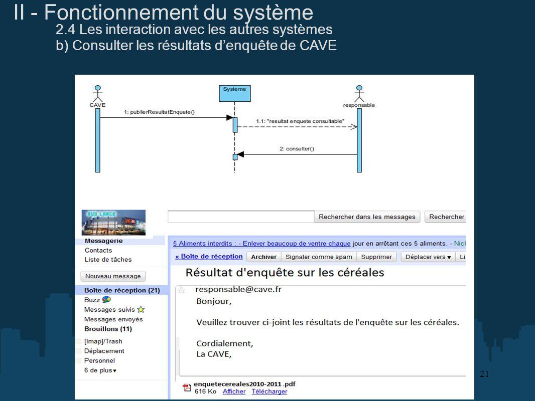 II - Fonctionnement du système 2.4 Les interaction avec les autres systèmes b) Consulter les résultats denquête de CAVE 21