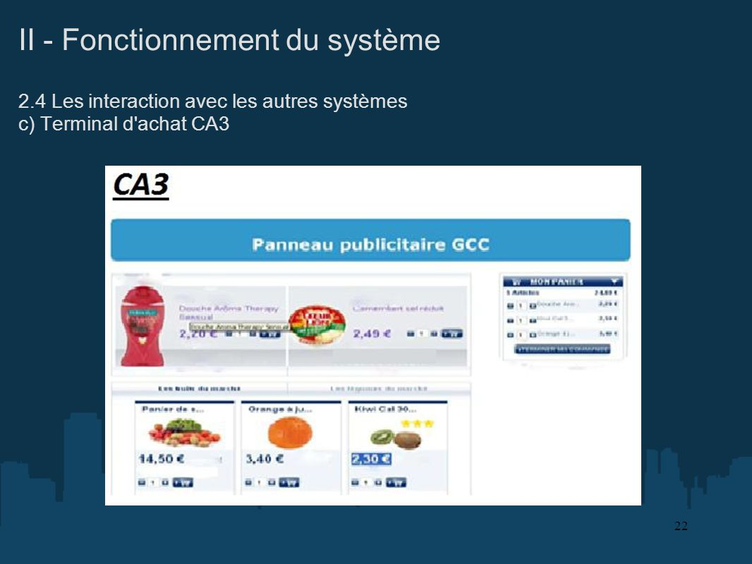 II - Fonctionnement du système 2.4 Les interaction avec les autres systèmes c) Terminal d'achat CA3 22