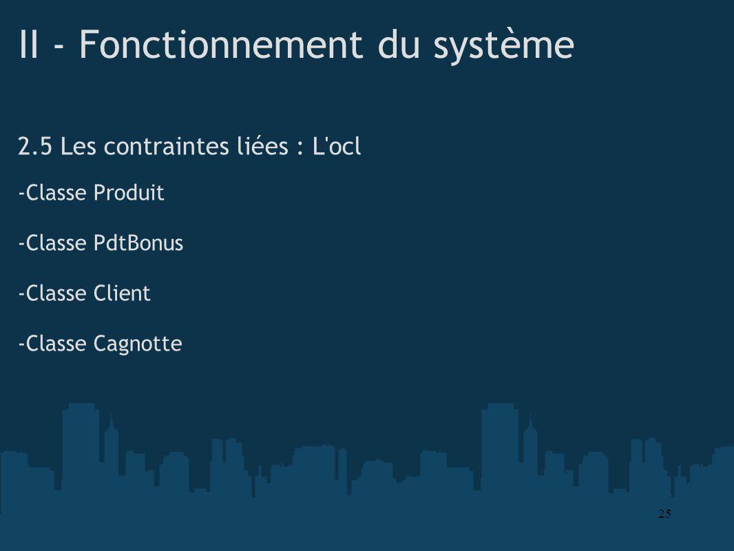 II - Fonctionnement du système 2.5 Les contraintes liées : L'ocl -Classe Produit -Classe PdtBonus -Classe Client -Classe Cagnotte 25