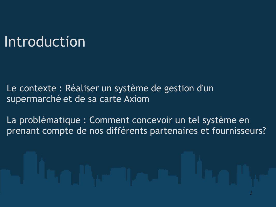Introduction Le contexte : Réaliser un système de gestion d'un supermarché et de sa carte Axiom La problématique : Comment concevoir un tel système en