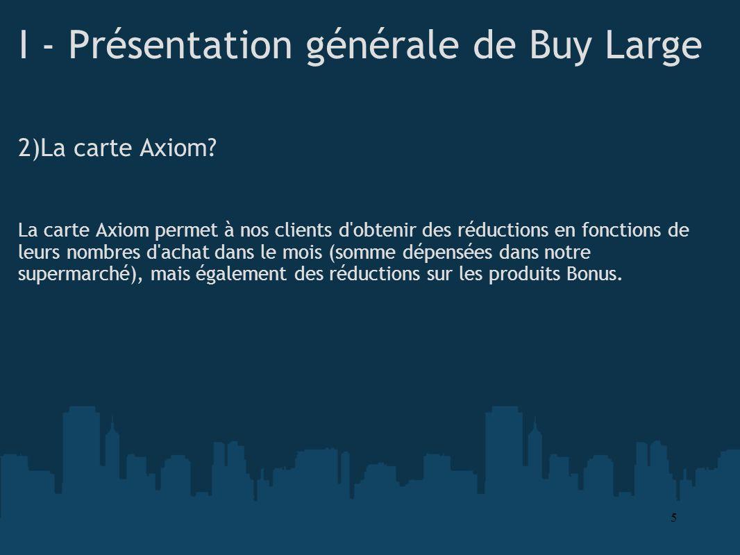 I - Présentation générale de Buy Large 2)La carte Axiom? La carte Axiom permet à nos clients d'obtenir des réductions en fonctions de leurs nombres d'