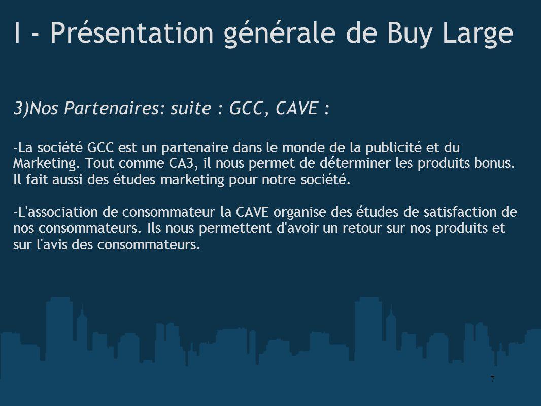 I - Présentation générale de Buy Large 3)Nos Partenaires: suite : GCC, CAVE : -La société GCC est un partenaire dans le monde de la publicité et du Ma