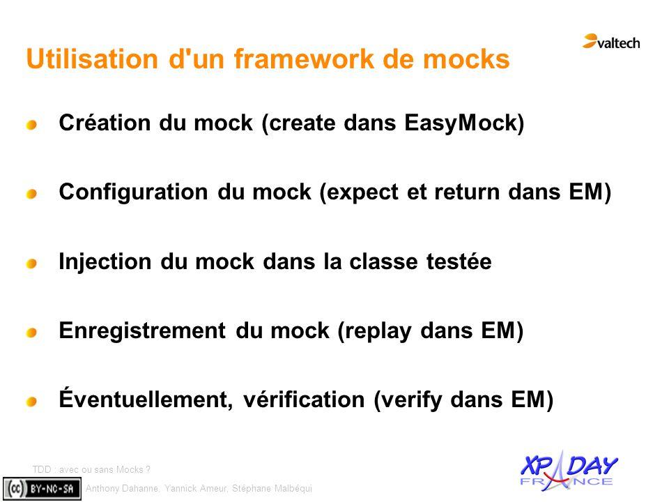Anthony Dahanne, Yannick Ameur, Stéphane Malbéqui TDD : avec ou sans Mocks ? #10 Utilisation d'un framework de mocks Création du mock (create dans Eas