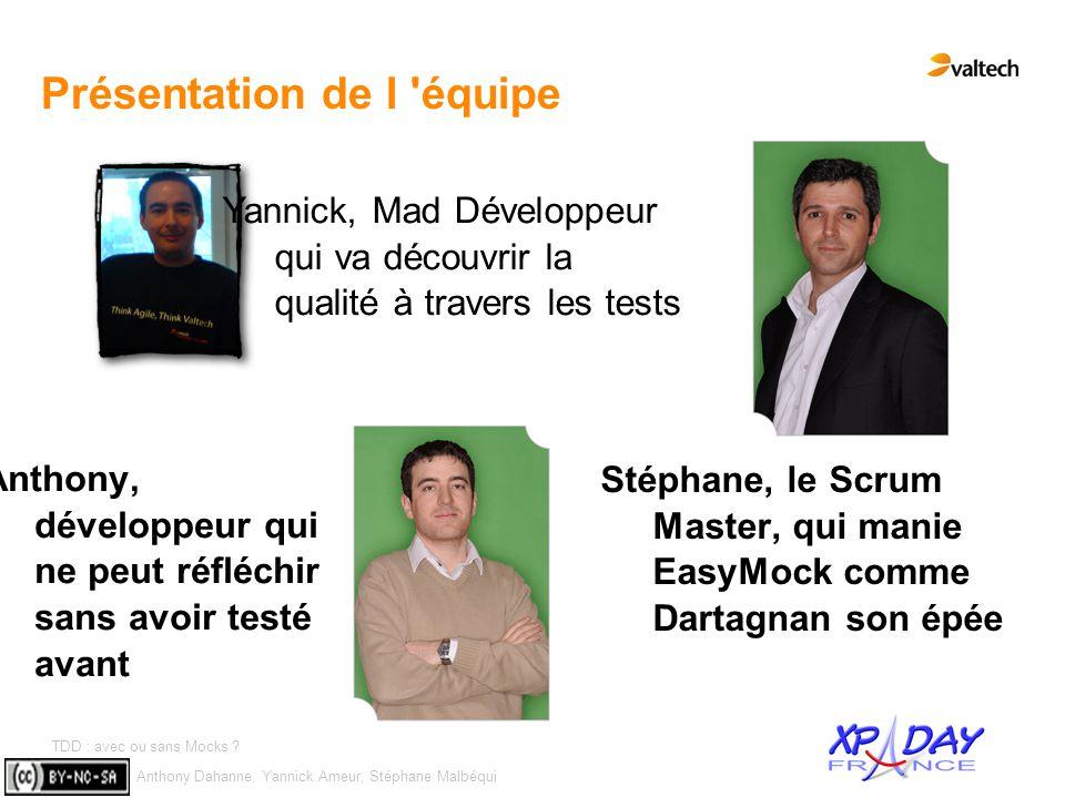 Anthony Dahanne, Yannick Ameur, Stéphane Malbéqui TDD : avec ou sans Mocks ? #2 Présentation de l 'équipe Anthony, développeur qui ne peut réfléchir s