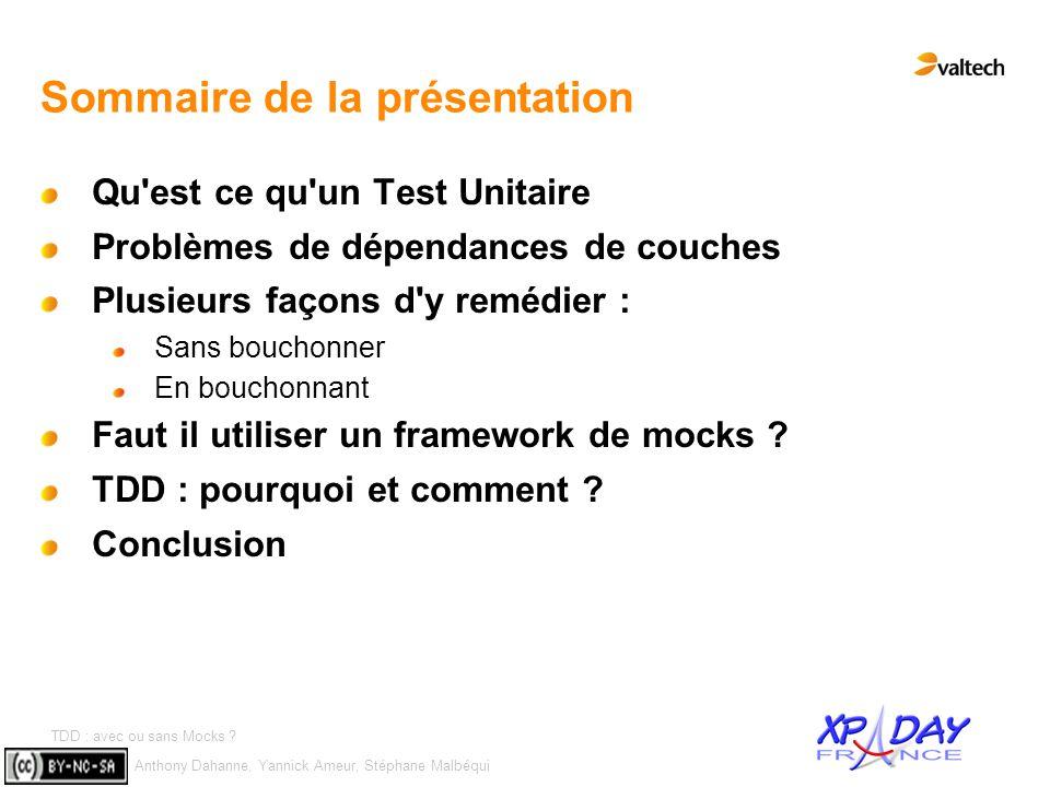Anthony Dahanne, Yannick Ameur, Stéphane Malbéqui TDD : avec ou sans Mocks ? #4 Sommaire de la présentation Qu'est ce qu'un Test Unitaire Problèmes de