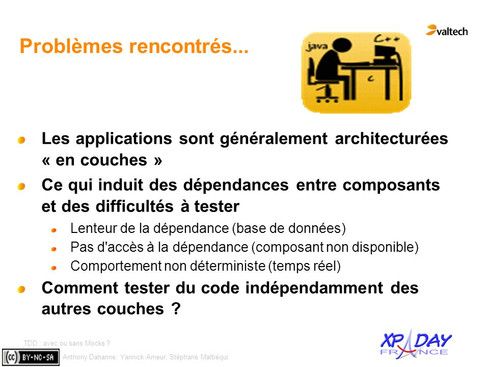 Anthony Dahanne, Yannick Ameur, Stéphane Malbéqui TDD : avec ou sans Mocks ? #6 Problèmes rencontrés... Les applications sont généralement architectur