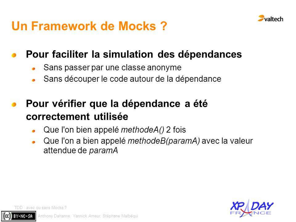 Anthony Dahanne, Yannick Ameur, Stéphane Malbéqui TDD : avec ou sans Mocks ? #9 Un Framework de Mocks ? Pour faciliter la simulation des dépendances S