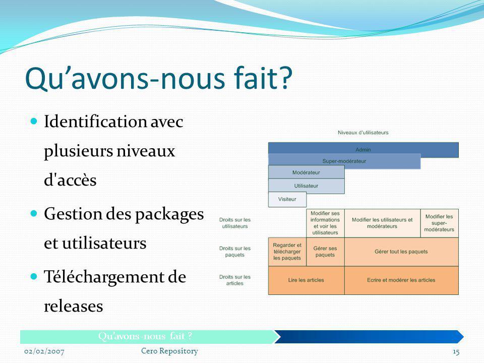 Identification avec plusieurs niveaux d'accès Gestion des packages et utilisateurs Téléchargement de releases 02/02/2007Cero Repository15 Quavons-nous