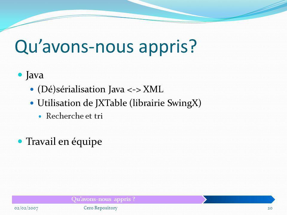 Java (Dé)sérialisation Java XML Utilisation de JXTable (librairie SwingX) Recherche et tri Travail en équipe 02/02/2007Cero Repository20 Quavons-nous