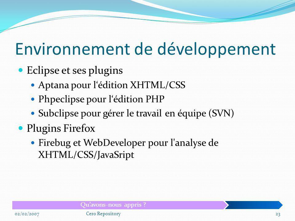 Environnement de développement Eclipse et ses plugins Aptana pour lédition XHTML/CSS Phpeclipse pour lédition PHP Subclipse pour gérer le travail en é