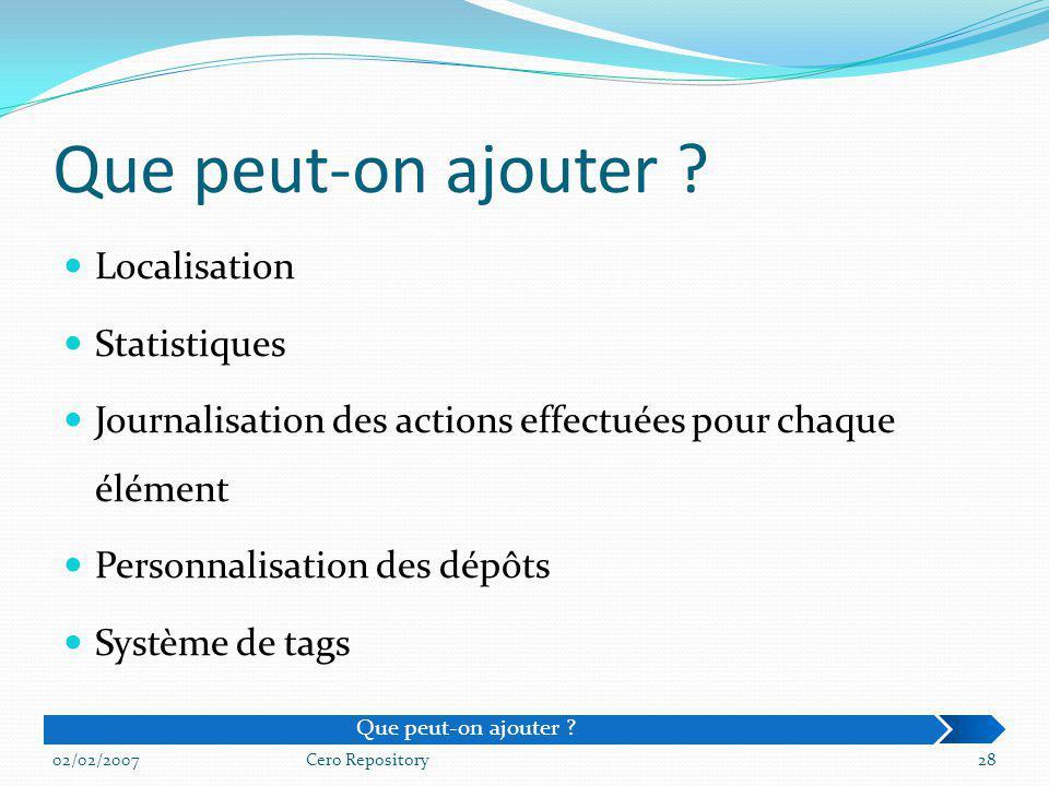 Localisation Statistiques Journalisation des actions effectuées pour chaque élément Personnalisation des dépôts Système de tags 02/02/2007Cero Reposit