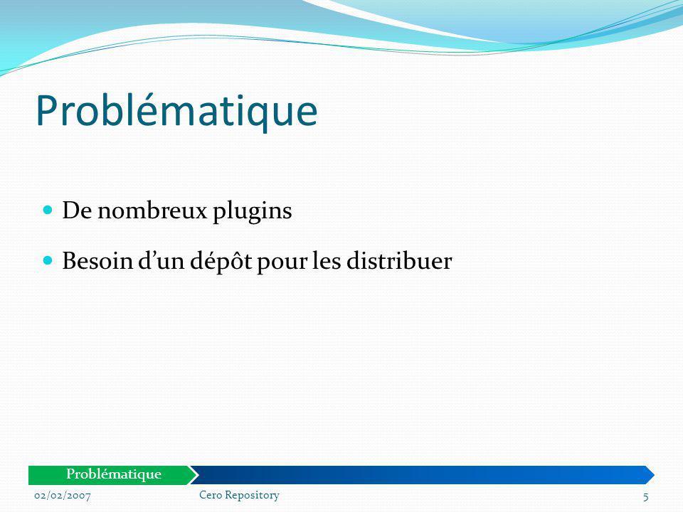 Les dépôts existants : Debian YAST Caractéristiques Juste un répertoire avec la liste des paquets + fichier de description généré Pas dinterface graphique Restreint à certains formats Grosses ressources nécessaires pour la modération 02/02/20076Cero Repository Problématique