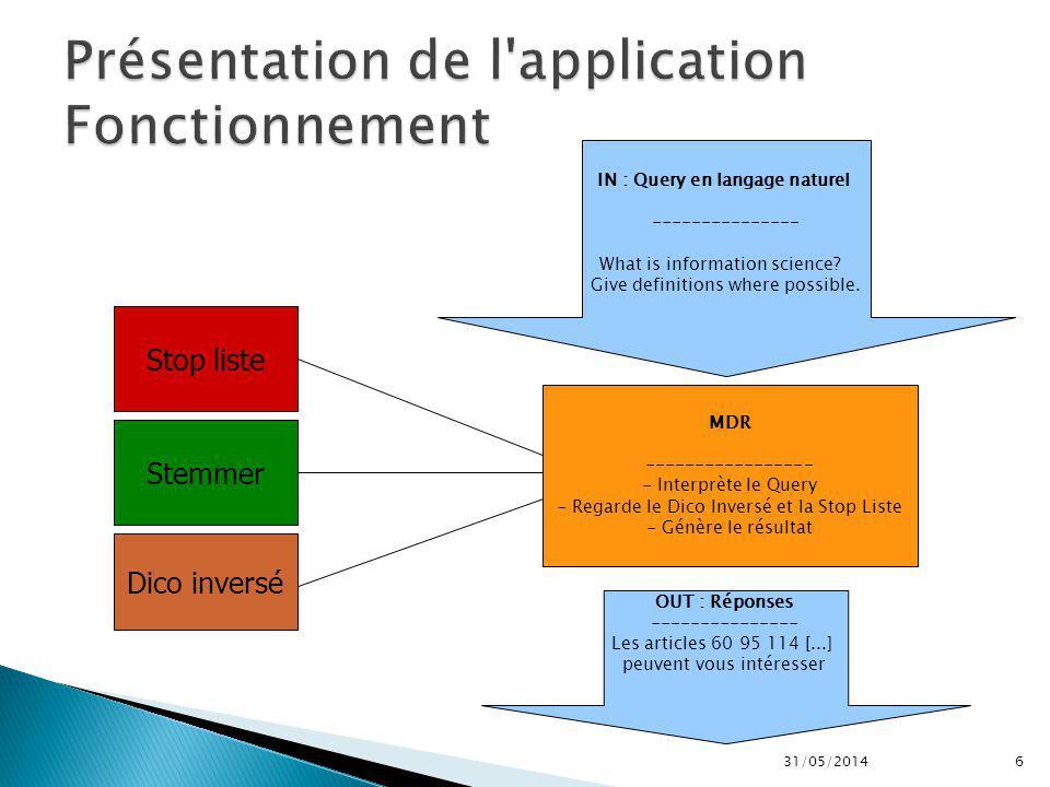 31/05/20147 Liste de caractères à retirer (?,!,,...) Prise d un fichier En entrée Sortie d un Fichier XML Standardisé pour notre application 4 1 5 2 3