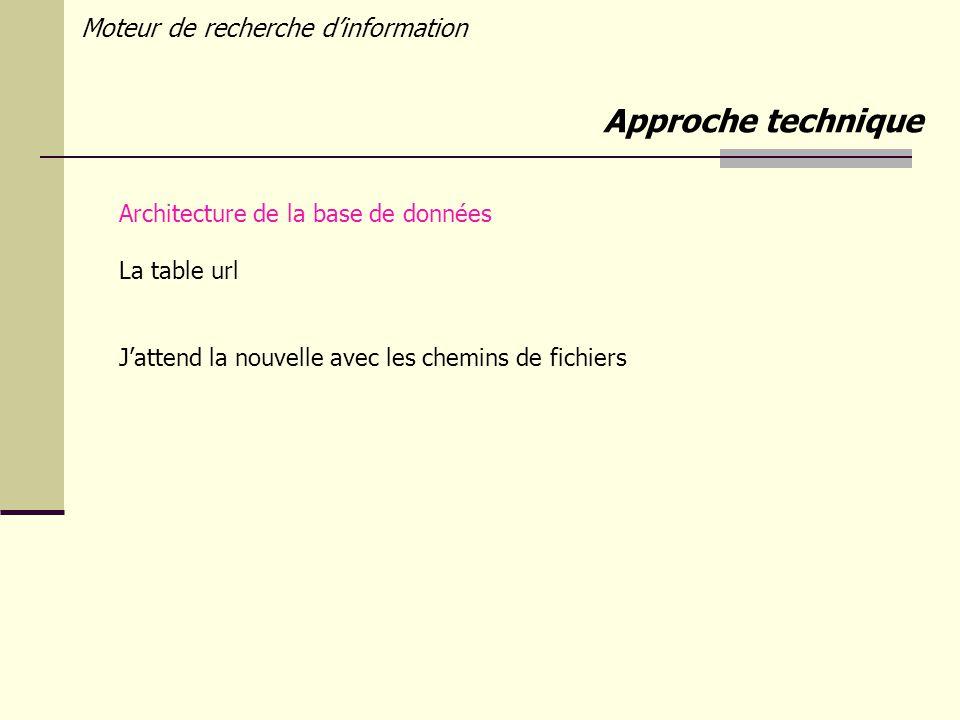 Moteur de recherche dinformation Architecture de la base de données La table url Jattend la nouvelle avec les chemins de fichiers Approche technique
