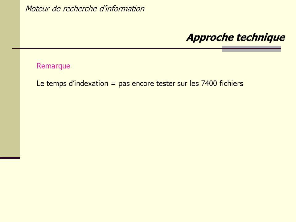 Moteur de recherche dinformation Remarque Le temps dindexation = pas encore tester sur les 7400 fichiers Approche technique